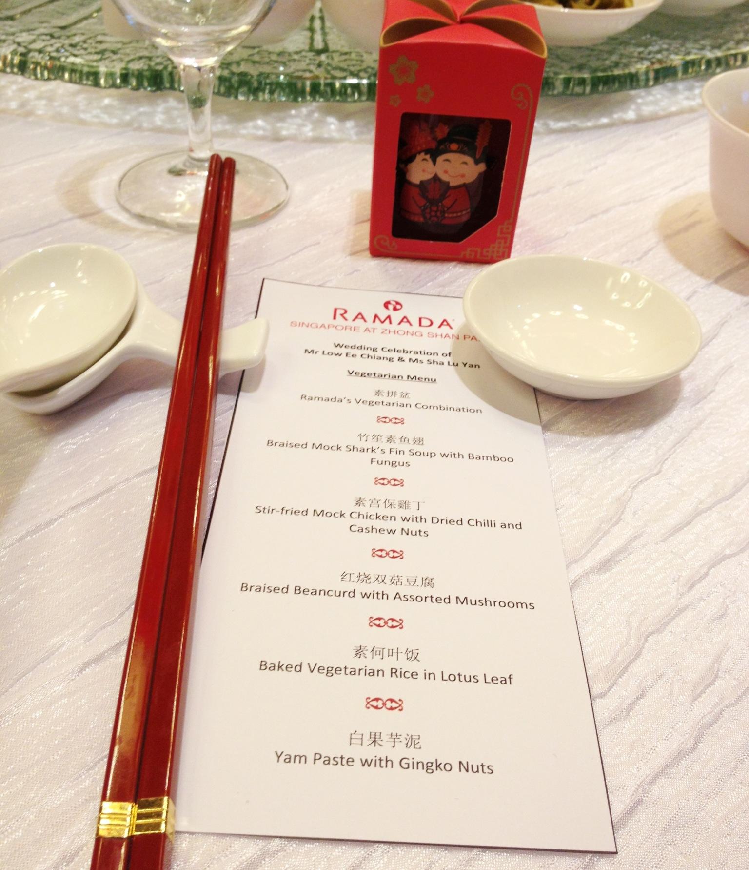 Chinese Wedding Food Menu: Vegetarian Wedding Menu